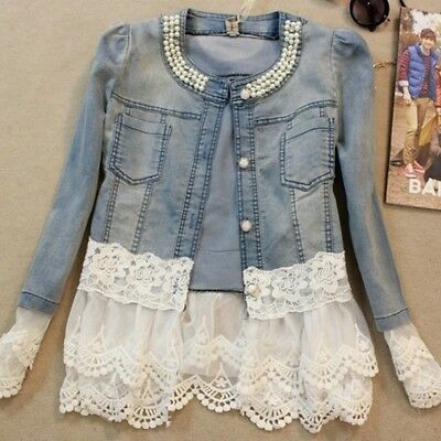 Women Lace Demin Jacket Long Sleeve Slim Fit Beading Single Breast Jean Coat