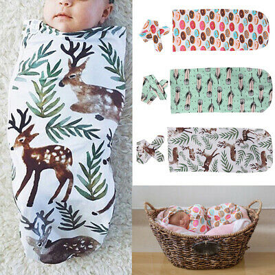 UK Cute Newborn Swaddle Blanket Baby Boys Girls Sleeping Bag Wrap Headband Cloth