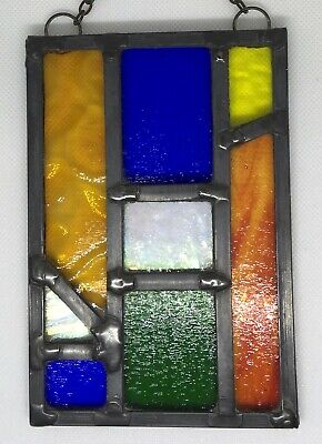 Leaded Stained Glass Panel Suncatcher Wall Hanging - Abstract 15cm x 9.5cm L008
