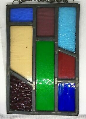 Leaded Stained Glass Panel Suncatcher Wall Hanging - Abstract 20cm x 13cm L004