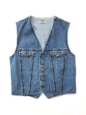 MOSCHINO!!! Vintage 1990s unisex 'Moschino' washed denim button front waistcoat