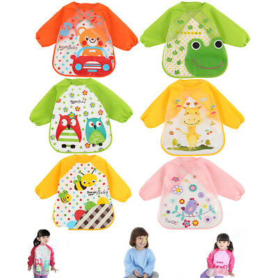 Set of 3 Baby Kid Feeding Bibs Long Sleeve Plastic Smock Apron Cartoon Print