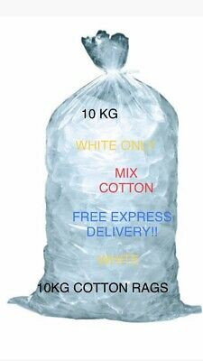 10Kg White Only ! Cloths Sheet Workshop Garage Cotton For Rags Wiping Cleaning