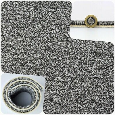 HARDWEARING Dark Grey Felt Back Twist Pile 4m Wide Carpet Remnant/Roll End