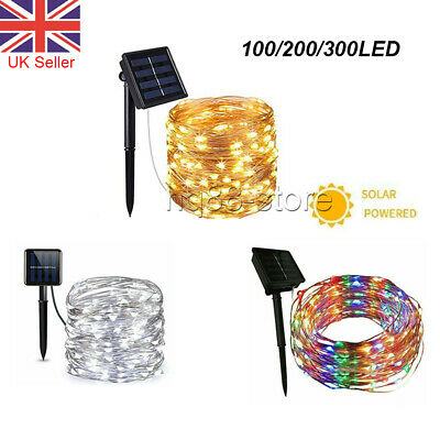 10M/20M LED Solar String Lights Waterproof Copper Wire Fairy Outdoor Garden UK
