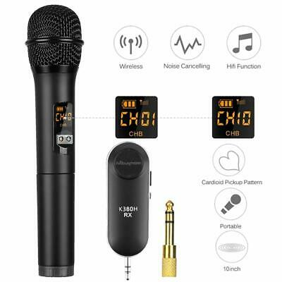 UHF Wireless Bluetooth Karaoke Microphone Speaker 10 Channel Handheld W/Receiver