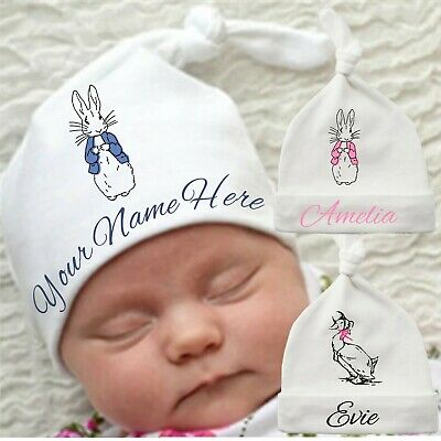Baby Hat with Knot Peter Rabbit Personalised and Custom with Name Newborn Gift