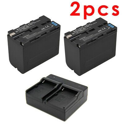 2pcs NP-F970 7800mAh 7.2V Battery + Dual Slot Battery Charger for Sony Camcorder