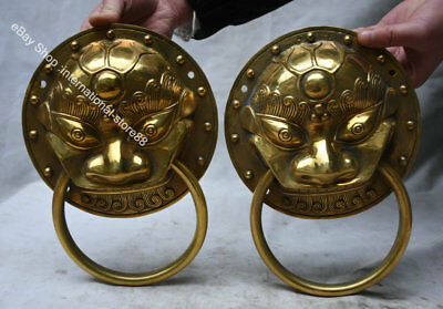 "10"" Old Chinese Brass Fengshui Foo Fu Dog Lion Lucky Door Knocker Pair"