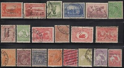 1914-38 Twenty Commemoratives, roos and KGV heads, used