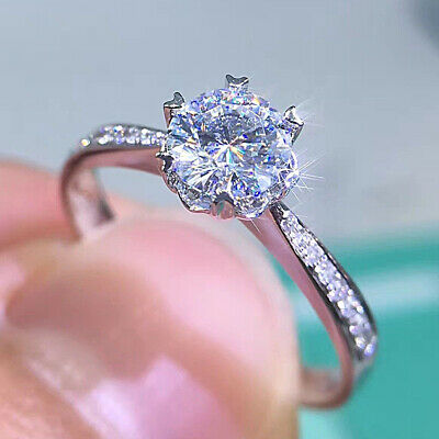 14k White Gold Finish 1.20 Ct Round Cut Diamond Engagement Ring For Women's