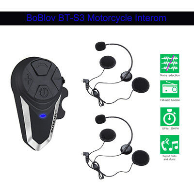 BT-S3 Casco per moto interfono a denti blu FM Radio Music w / Microphone Earpiec