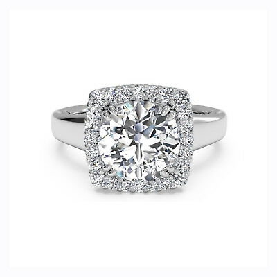 1.20Ct Diamond Lab Created Ring Round Cut 14K White Gold 6 8 Certified