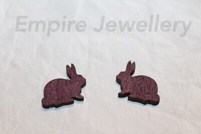 2 x Purple Rabbit Wooden Laser Cut Flatback Cabochon 18x14mm Bunny Easter