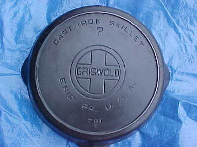 Antique Very Nice Clean #7 Griswold-Erie Cast Iron Skillet Big-Block W/heat Ring