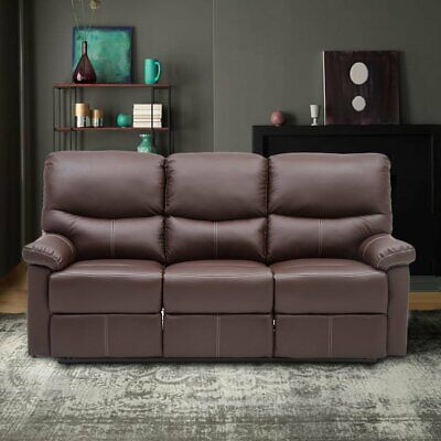3 Seater Recliner Leather Sofa Armchair Lounge Couch Suite Living Room Brown UK
