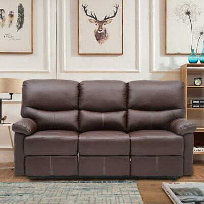 Luxury 3 Seater Sofa Leather Recliner Sofas Brown Lazyboy Sofa + Armchair Uk