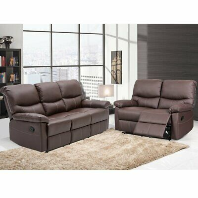 Leather Recliner Sofa 2+3 Seater Reclining Lazyboy Sofa Suite Settee High Back