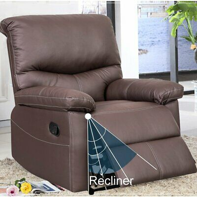 Single Recliner Sofa PU Leather Reclining Chair Padded Armrest Armchair Lounge