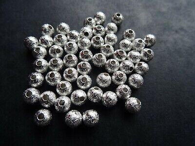50 WHITE GLASS PEARL STARDUST TEXTURED MOON BEADS 8mm GLS22