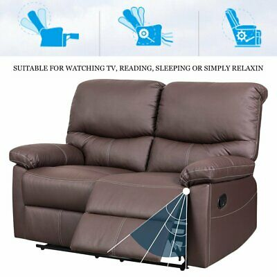 Reclining High-Back Leather Recliner Sofa 2 Seaters  Armchairs Couch Settee NEW
