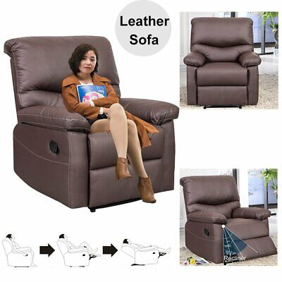 Luxury  Brown Leather Recliner Armchair Sofa Soft Seat 1 Seater Living Room UK