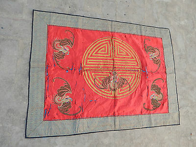 Antique Chinese Qing Dynasty Hand Embroidery Panel/Tapestry 100X73cm (X102)