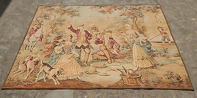 a876 Antiques Large Vintage French Beautiful Scene Tapestry 155x71cm Tapestries