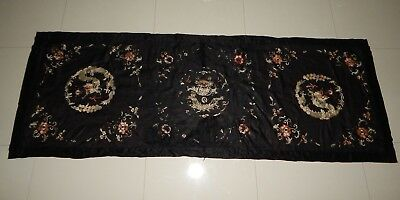Antique Chinese Hand Embroidery Silk Wall Hanging Dragons Panel 214X74cm (X544)