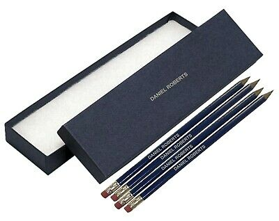 12 Blue Personalised HB Pencils with Silver Cuff Topped Eraser In A Blue Box