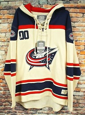 OLD TIME HOCKEY Columbus Bluejackets Heavyweight Hoodie XL Vintage Lacer  Jersey c544267f4