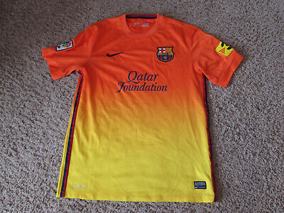 95dce539ab5 Nike Dri-Fit Futbol soccer Fc Barcelona Qatar Foundation Orange Yellow Jersey  L