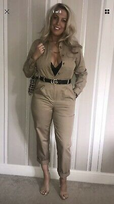 1d1826ae7f4 BNWT H M Tan Boiler Suit 2019 Blogger Size UK 8 Sold Out Cargo Jumpsuit 36