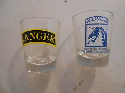 Lot Set Two Shot Glass Ranger And Airborne Fort Bragg Special Forces Army Usgi