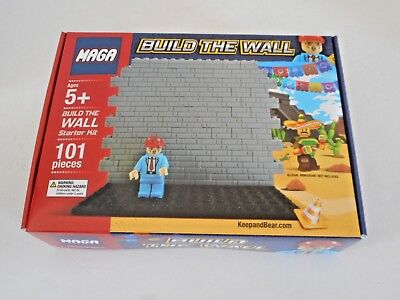 MAGA-Toy Block Set-BUILD THE WALL-President Trump Hard Hat Figure