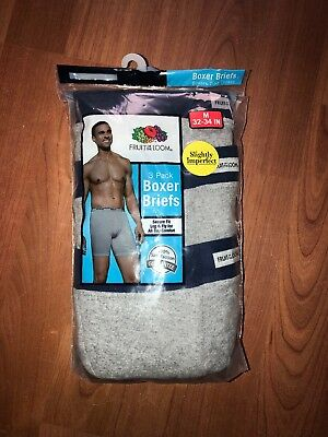 Fruit Of The Loom Mens 3-Pack Color Boxer Briefs Tagless 100% Cotton S-3XL!!