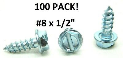 "100 PACK! #8 x 1/2"" Slotted Hex Washer Head Tapping Screws Steel Zinc Plated HF"