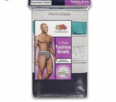 Fruit Of The Loom Mens 3-Pack Color Fashion Briefs 100% Cotton Tagless S-XL!!