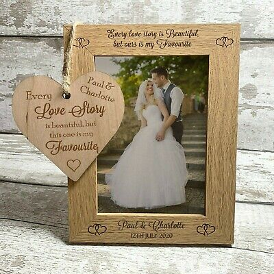 Personalised Photo Frame + Plaque Gift for Wedding Anniversary Engagement Mr Mrs