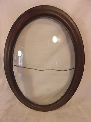 Antique victorian OVAL BUBBLE GLASS frame 16 3/4 x 22 3/4  holds 13 1/2x18 3/4