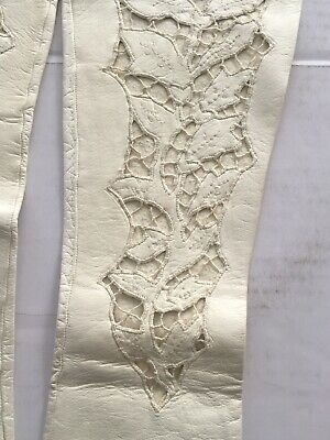 Vintage White kid leather long gloves with cut-out floral design