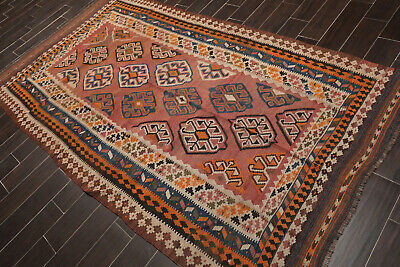 "5'3"" x 9'3"" Vintage Hand woven Afghan Kilim Wool Traditional Oriental Area Rug"