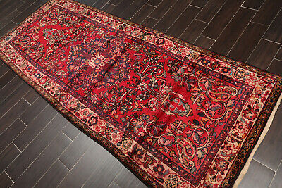 "3'8"" x 9' Vintage Hand Knotted 100% Wool Traditional Oriental Area Rug Runner"