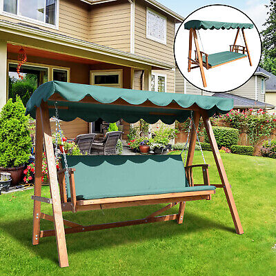 Outsunny 3 Seater Wooden Garden Swing Chair Seat Hammock Bench Lounger Bed