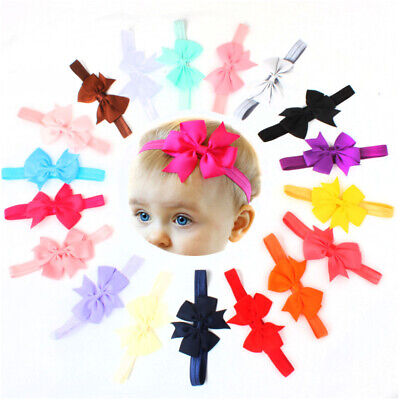 20pcs Baby Girls Solid Ribbon Hair Bows Headbands Big Bow Hair Bands US W0T4Y