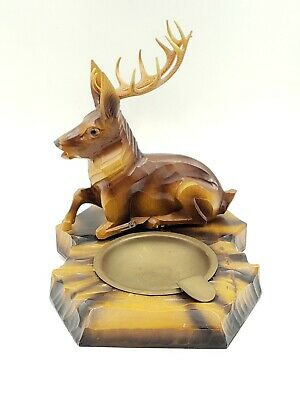 RARE Vintage Black Forest Wooden Stag Deer Ashtray
