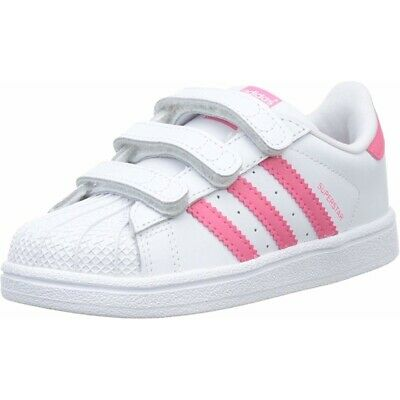 adidas Originals Superstar CF C White/Real Pink Leather Junior Trainers Shoes