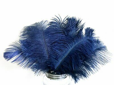 """Navy Blue Fluffy Ostrich Feathers 20-25cm / 8-10"""" - Weddings Millinery Craft"""