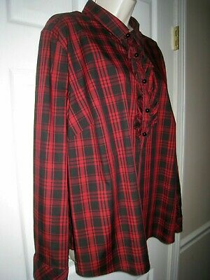 76d182e2ccb4d Talbots Women s Blouse Plus Size 1X or 2X ( ) Red Multicolored Plaid  Ruffled Top