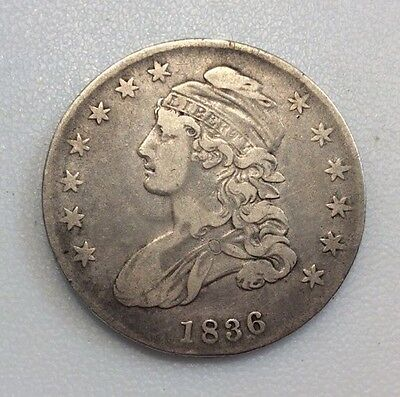 1836 Lettered Edge Capped Bust Silver Half Dollar in VF+ Condition